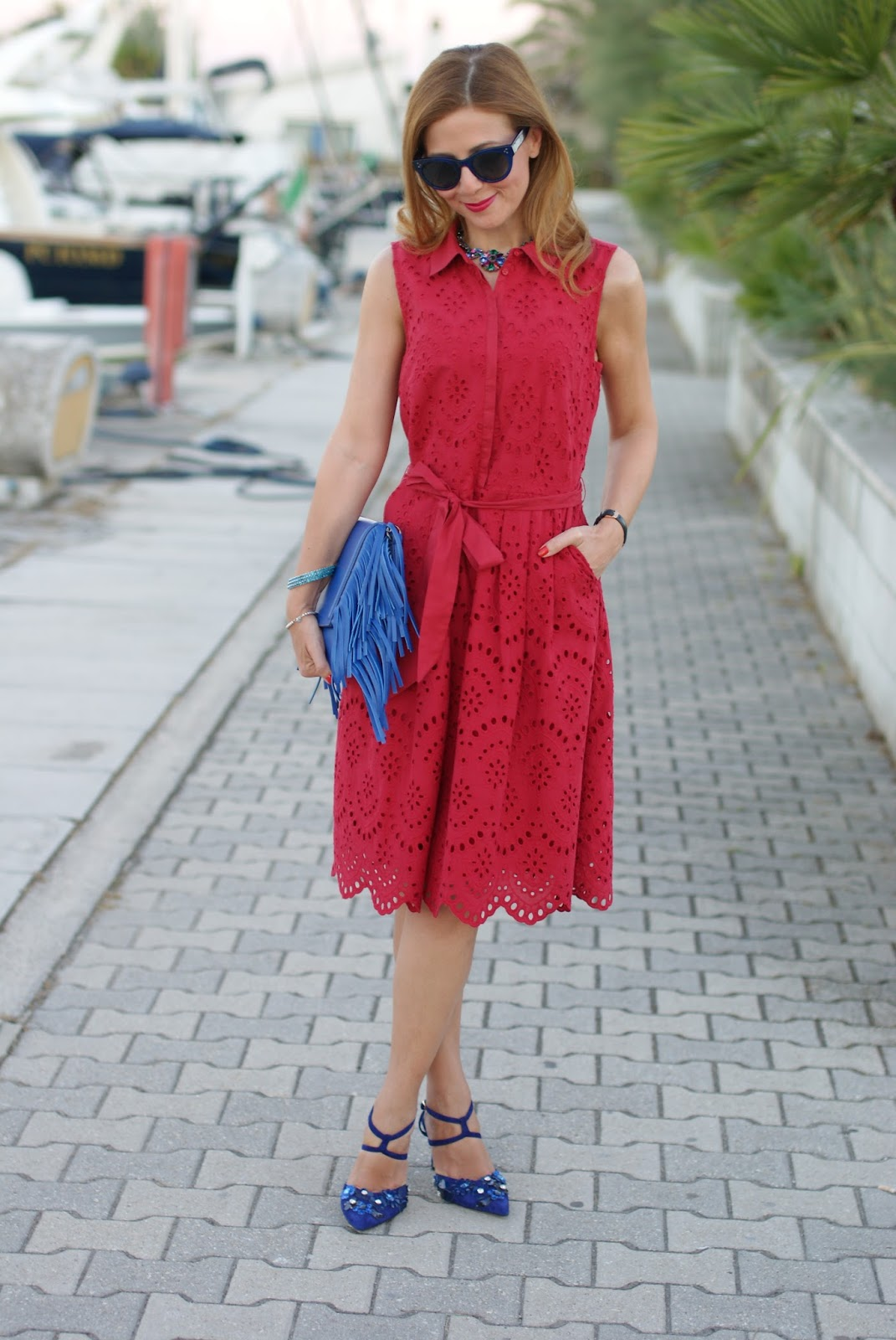 1.2.3 Paris broderie anglaise dress, Giancarlo Paoli shoes and Iaya Asciani clutch on Fashion and Cookies fashion blog, fashion blogger style