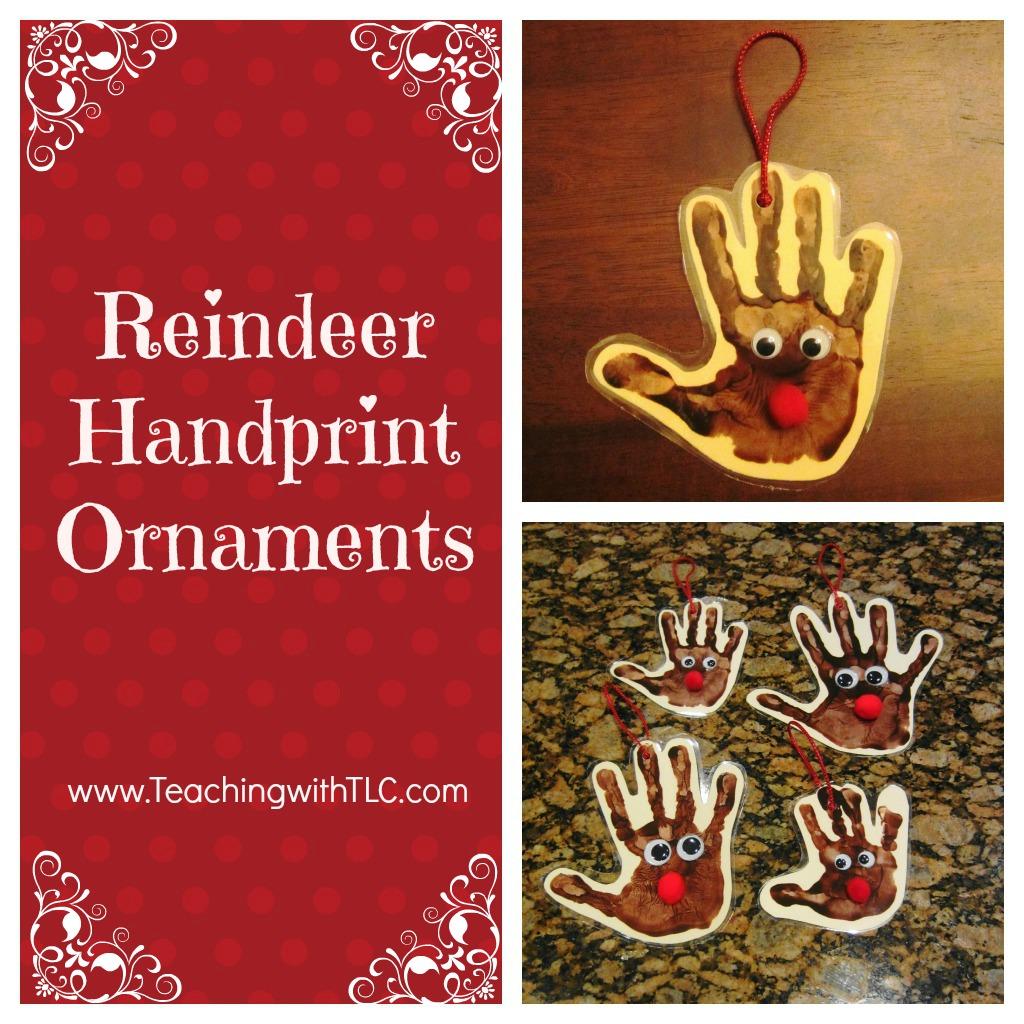 Teaching with TLC: My favorite Christmas crafts  Reindeer Handprint Ornament