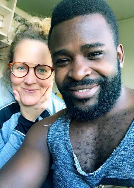 28-year-old Ugandan singer, Guvnor Ace has moved on with another white woman after dumping his 67- year-old Swedish wife