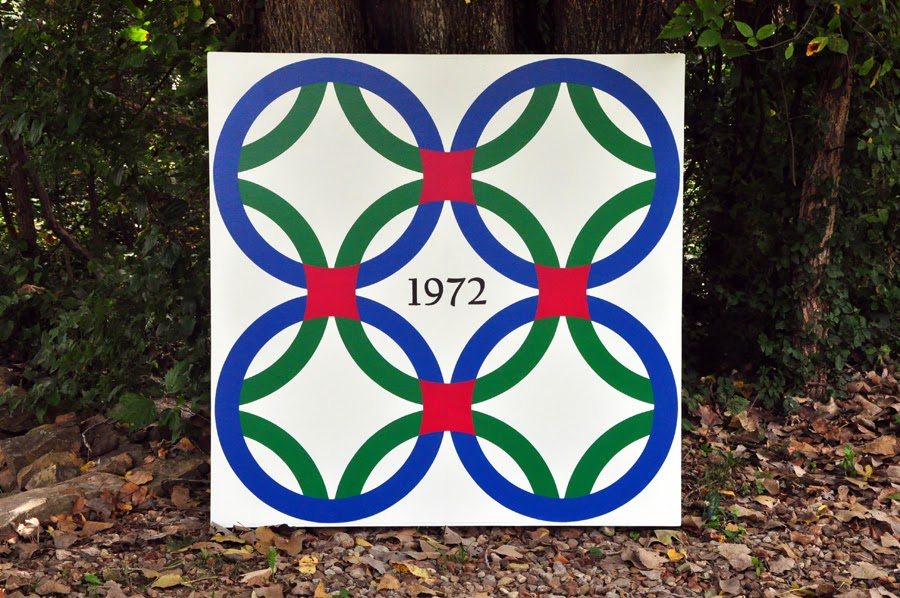 On Quincy Street Barn Quilt 4 Double Wedding Ring