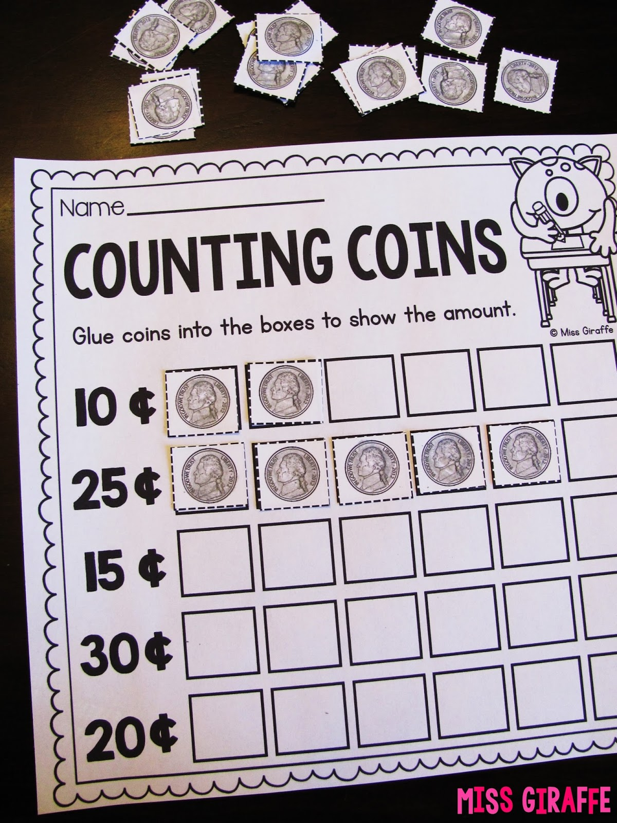 Coin Worksheet Learning Kindergarten