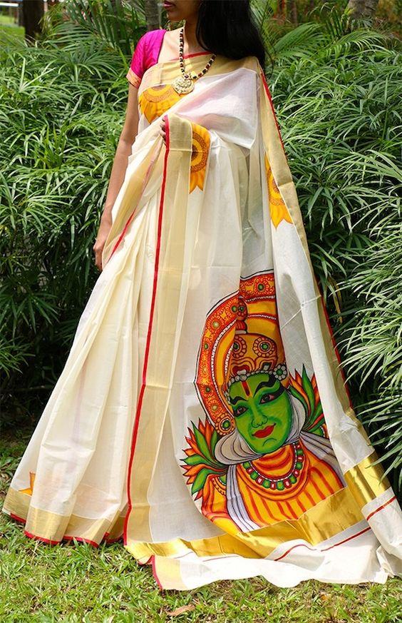 Saree market kerala saree kathakali print for Buy kerala mural paintings online