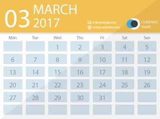 March 2017 timetable calendar