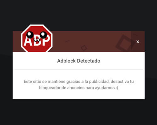 aviso desactivar adblock personalizable