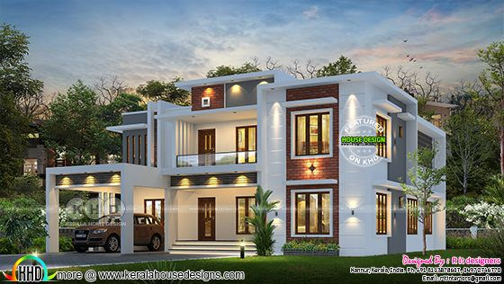 Beautiful modern contemporary house 3d rendering