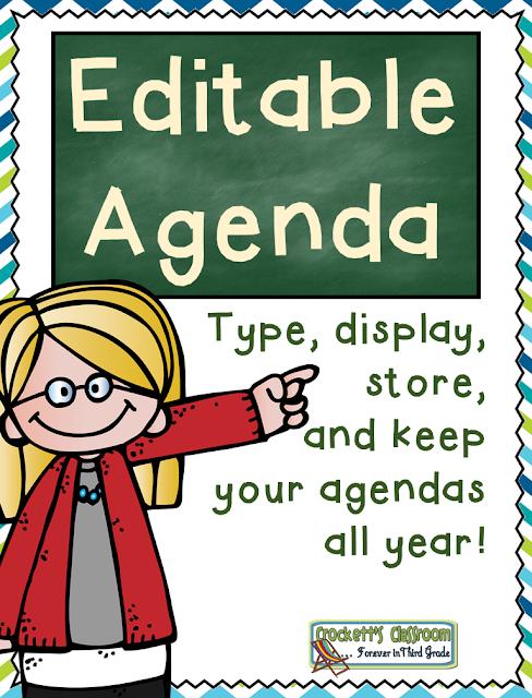 Editable Agenda---Crockett's Classroom