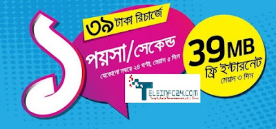GP 39 MB Free internet offer recharge only 19 tk