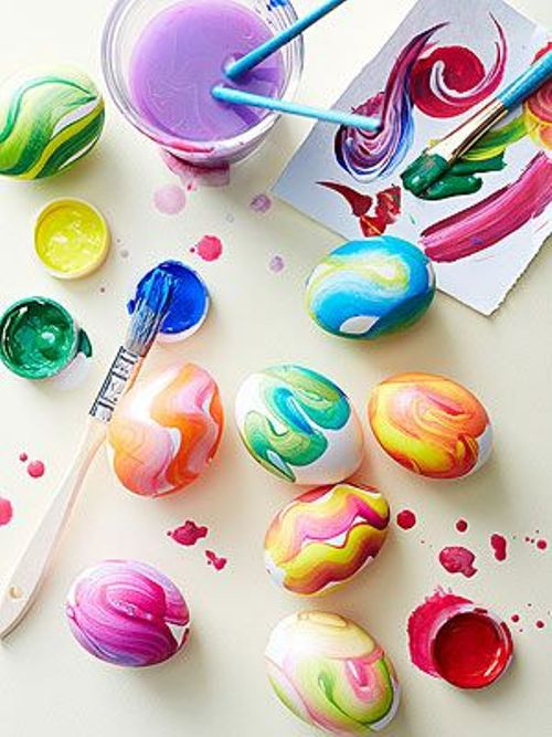 colorful, modern and swirly Easter eggs