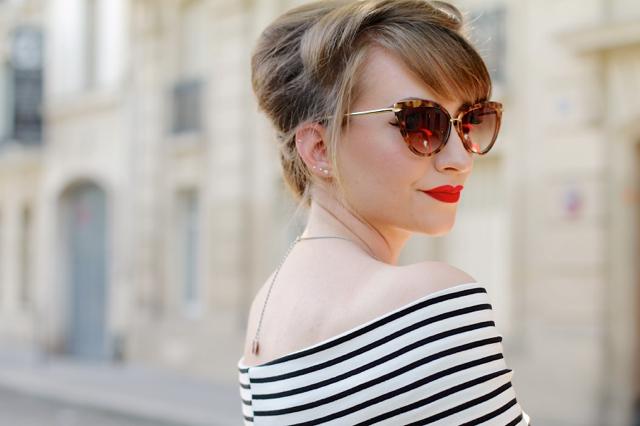 Bardot neck striped dress in Paris