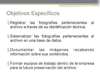 registrar las fotografías pertenecientes al archivo a través de su identificación. Sistematizar las fotografías pertenecientes al archivo en una base de datos. Documentar las imágenes recabando información sobre sus contenidos. Formar equipos de trabajo dentro de la empresa para la futura preservación del archivo.