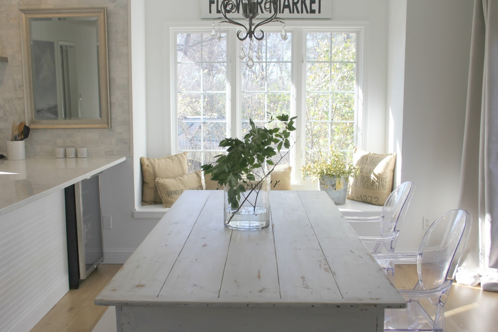 image result for hello lovely fixer upper white modern farmhouse kitchen with long white table