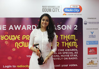Keerthy Suresh in White Dress with Cute Smile at Radio City Awards