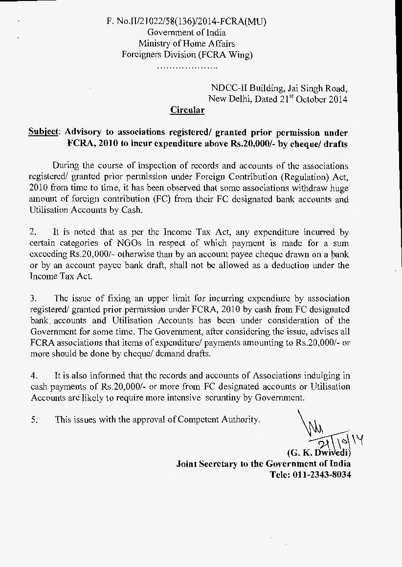 Indian NGO Consultancy Services: FCRA Advisory to Incur Expenditure