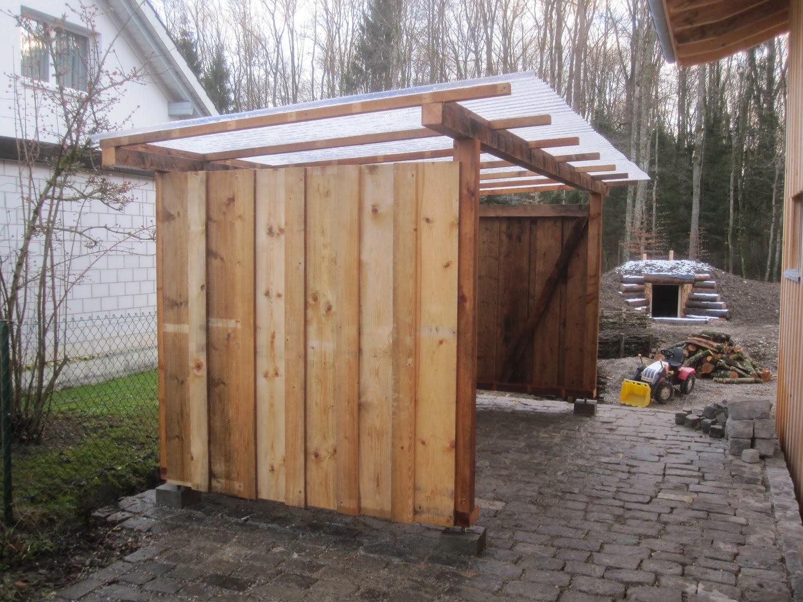 Holzunterstand Aus Paletten Bauen Kaminholzregal Aus Cortenstahl