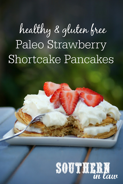 Healthy Paleo Strawberry Shortcake Pancakes Recipe - low fat, gluten free, healthy, high protein, paleo, grain free, clean eating friendly, low carb