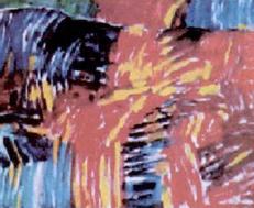 Lukisan abstrak karya Jelihan yang berjudul Bandung