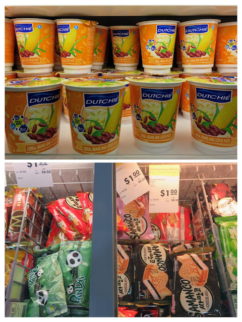 Bean and corn yogurt plus frozen supermarket treats at Sortya Mall in Phnom Penh Cambodia