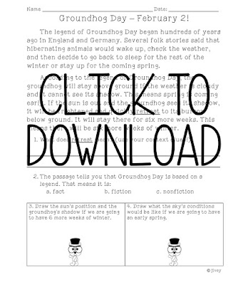 Download a free reading and science integrated activity to use on Groundhog Day!