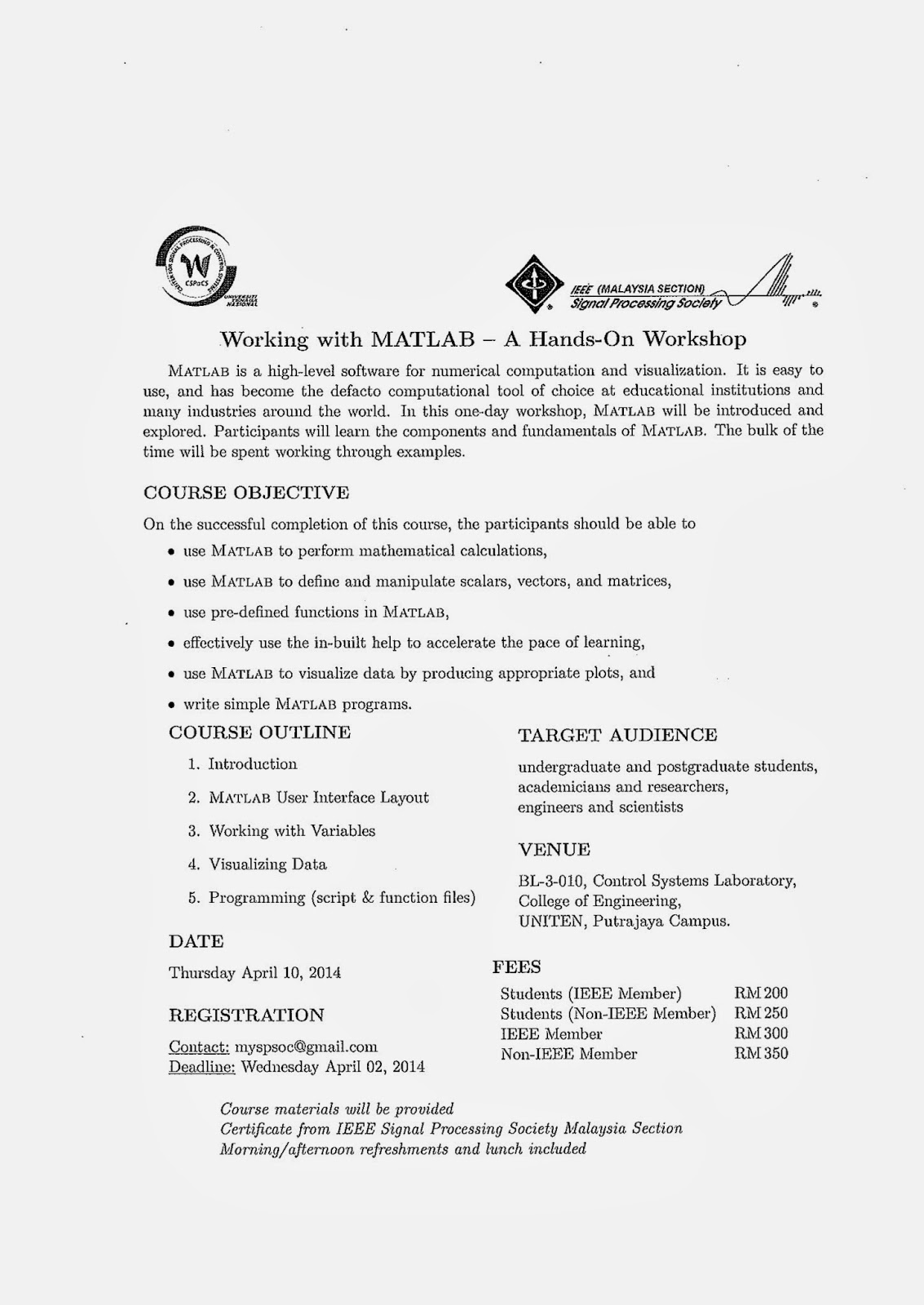 Engineering Industrial Training: Announcement on Hands-On