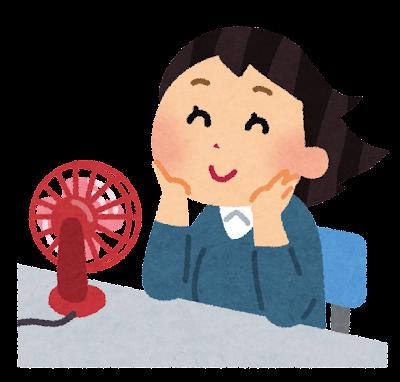 卓上扇風機で涼む女性のイラスト