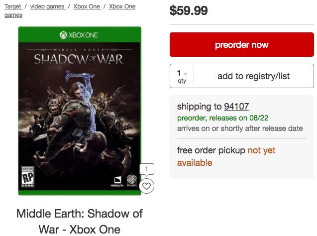 Cobra fuerza la secuela de La Tierra Media bajo el nombre Shadow of War, ¿lanzamiento 22 de agosto?