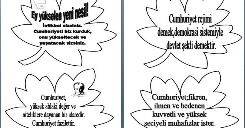 29 Ekim Panosu Atatürk özdeyişleri Etkinliği Dersteknikcom