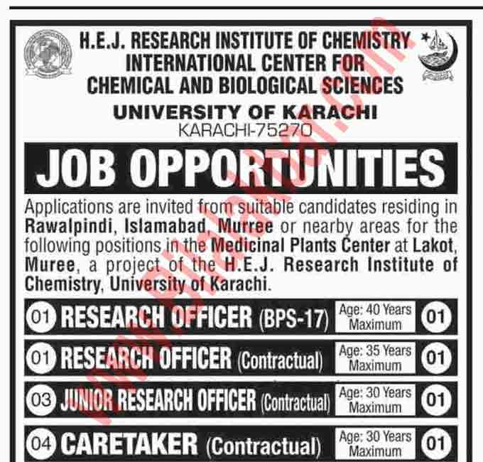 Job Opportunities in International Center for Chemical and Biological Science