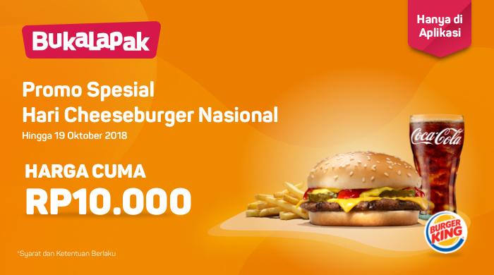 Bukalapak - Promo Hari Cheeseburger Nasional Harga Cuma 10 Ribu (s.d 19 Okt 2018)