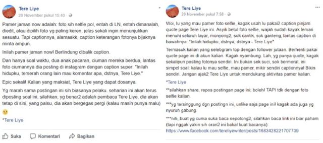 Tere Liye Protes, Quotes-nya Sering Dipakai Caption Foto Selfie, Netizen