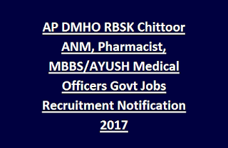 AP DMHO RBSK Chittoor ANM, Pharmacist, MBBS/AYUSH Medical Officers Govt Jobs Recruitment Notification 2017