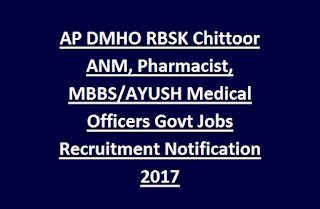 AP DMHO RBSK Chittoor ANM, Pharmacist, MBBS/AYUSH Medical Officers Govt Jobs Recruitment Notification 2017