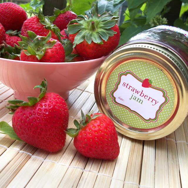 strawberry jam canning jar labels