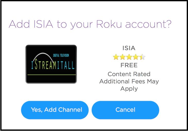 Add iStreamItAll to Roku