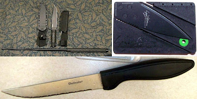 Survival Knive and Asp (PBI), Credit Card Knife (ABQ), Kitchen Knife (DEN)