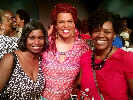 Nekeisha, Terry Burrell and Jacquetta visiting after the performance | Horizon Theatre