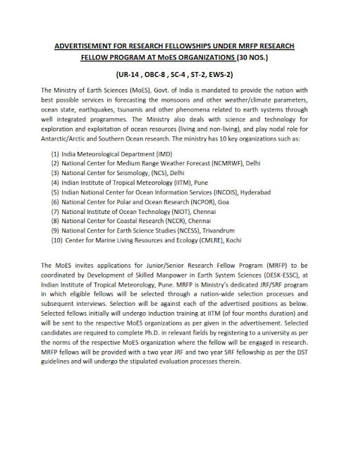 Research Fellowships in IITM(30 posts)