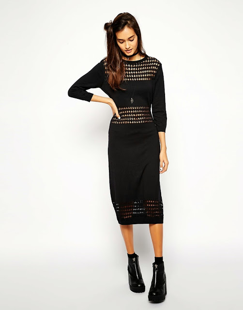 black mesh dress midi