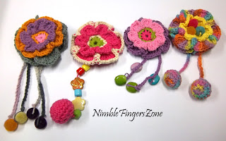 Crochet Flower Brooches With Tail | Nimble Fingers Zone