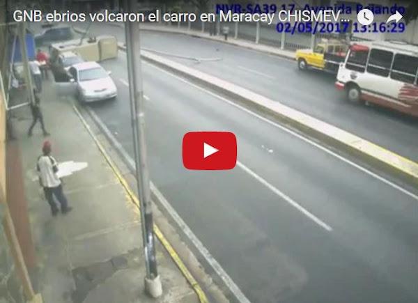 Guardias ebrios volcaron su camioneta en Maracay