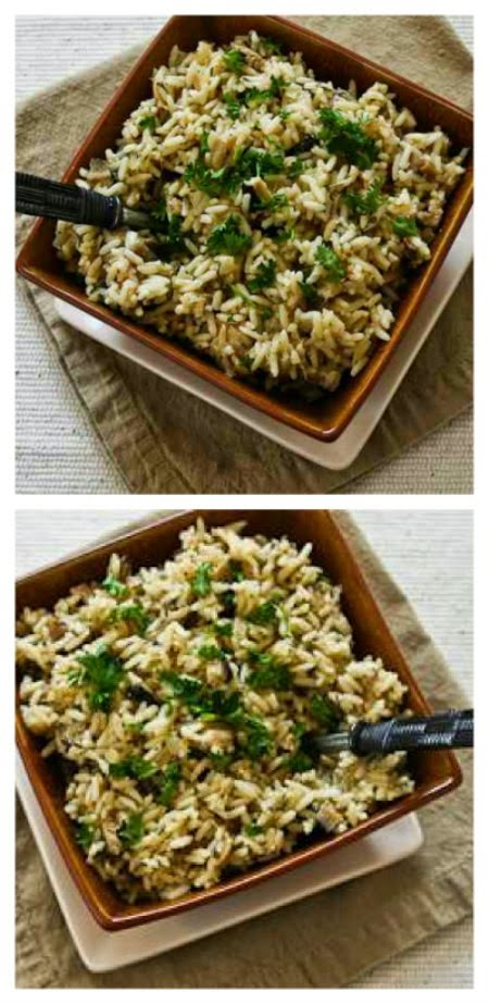 CrockPot Rice with Dried Mushrooms, Herbs, and Parmesan