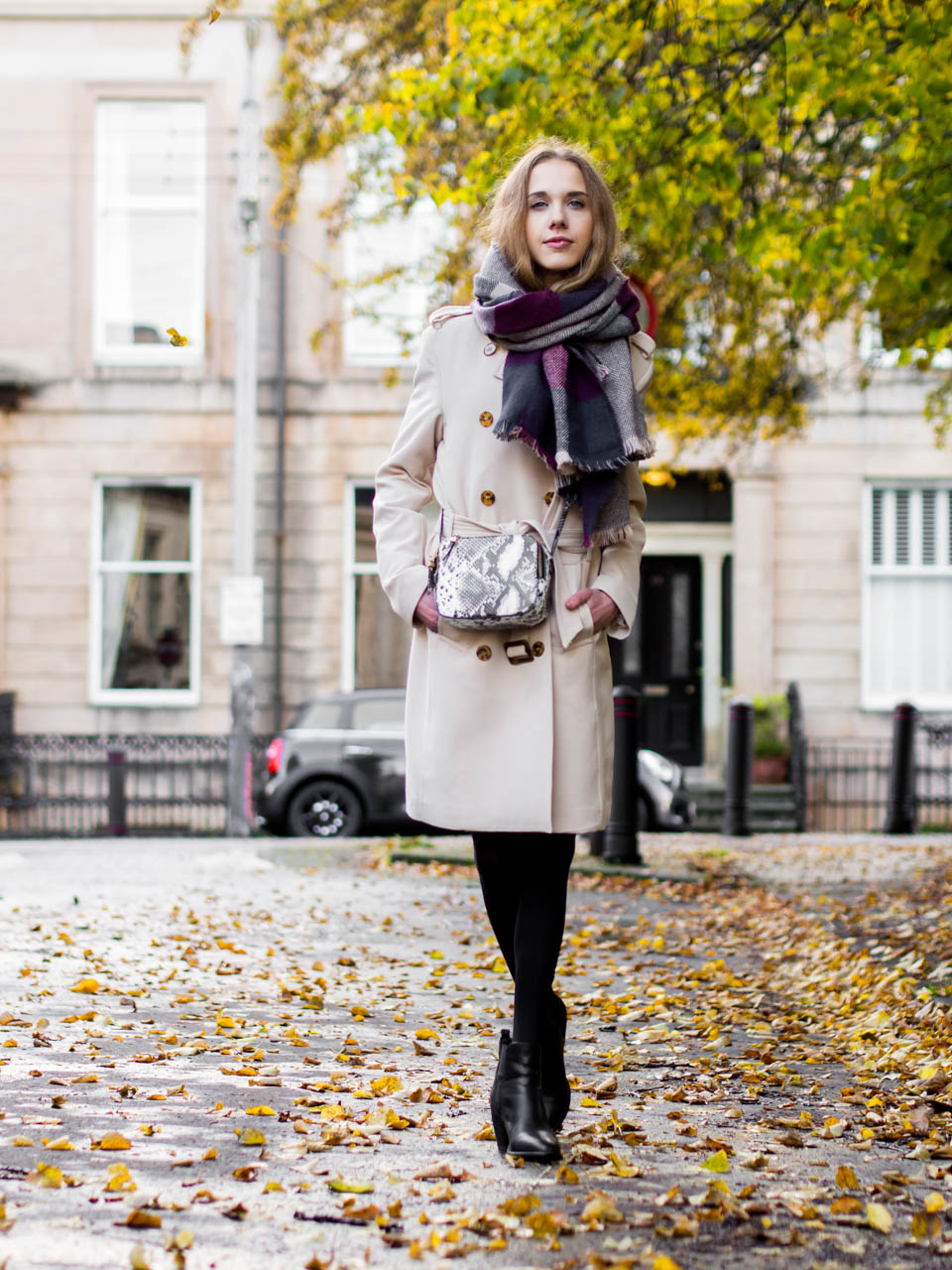 Autumn outfit jumper dress and trench coat - Syyasasu neulemekon ja trenssitakin kanssa