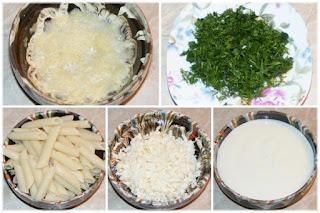 paste, branza, iaurt, marar, usturoi, ingrediente pentru paste cu sos de iaurt, penne, retete culinare, cum facem paste cu sos de iaurt, cum facem paste cu sos alb,