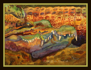 Gator watercolor ncwren 30in30