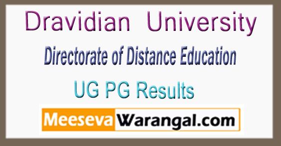 Dravidian University Directorate of Distance Education UG PG 1st 2nd 3rd Year Results 2017