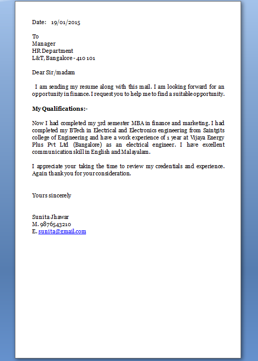cover letter for sending cv
