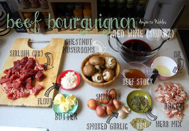 Ingredients for beef bourguignon from www.anyonita-nibbles.com