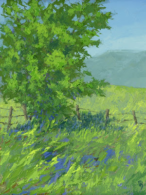 painting art landscape spring green open space palette knife