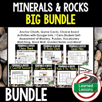 Minerals and Rocks, EARTH SCIENCE MEGA BUNDLE, Earth Science Curriculum, Anchor Charts, Game Cards, Puzzles, Vocabulary Activities, Choice Boards, Digital Interactive Notebooks, Word Walls, Picture Puzzles, Test Prep