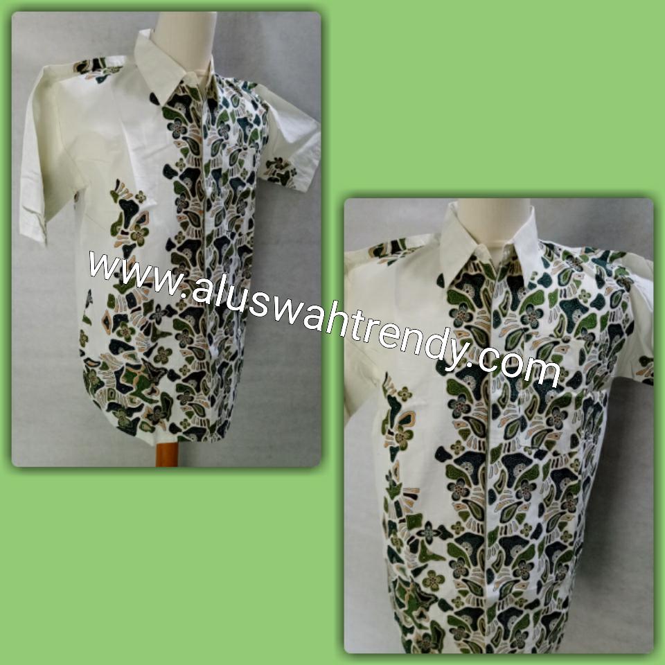 Kemeja Batik Lengan Pendek 015 Putih Hijau Alam