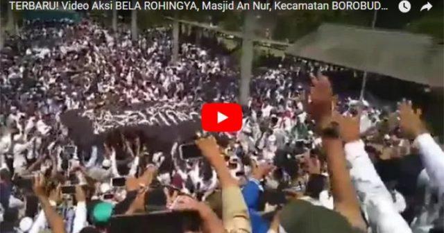 Inilah Video Aksi Bela Rohingya di Masjid An Nur Sawitan Magelang, Panji Rasulullah Raksasa Diarak